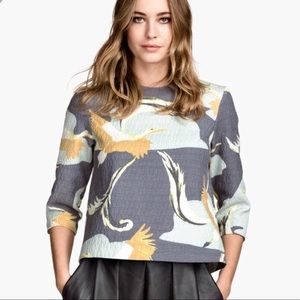 H&M 3/4 sleeve Japanese inspired crane top